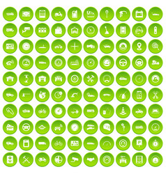 100 garage icons set green circle vector