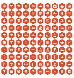 100 thunderstorm icons hexagon orange vector