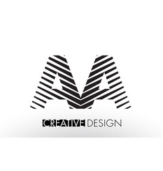 Aa a lines letter design with creative elegant vector