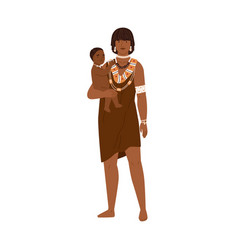 African tribal mom with baby young female member vector