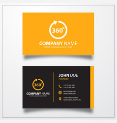 Angle 360 degrees icon business card template vector