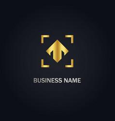 Arrow up company gold logo vector