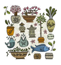 asian garden with plants in ceramic pots sketch vector image