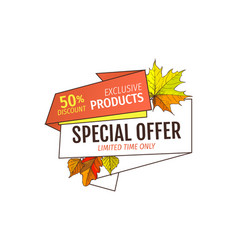 autumn fall half price advertising label foliage vector image