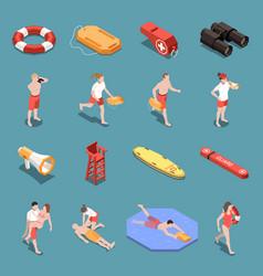 Beach lifeguards isometric set vector