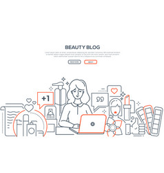 beauty blog - modern line design style web banner vector image