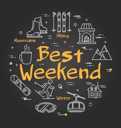 Black best weekend in mountains concept vector
