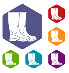 Boots icons set vector