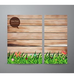 Brochure business green grass over wood fence vector