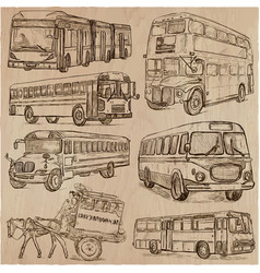 Buses - an hand drawn collection freehand vector