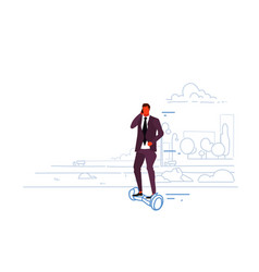 businessman riding electric scooter business man vector image