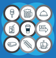 Cafe icons set with sorbet platter wheat and vector