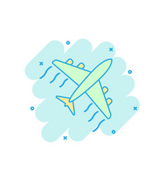 cartoon colored airplane icon in comic style vector image