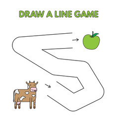 cartoon cow draw a line game for kids vector image
