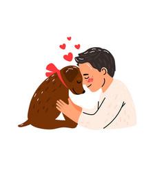 cartoon young man hugging dog vector image