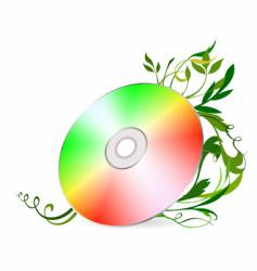 cd-disk on floral background vector image vector image