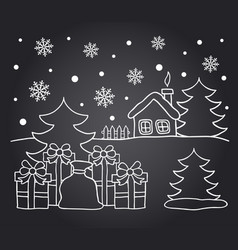 Chalkboard drawing card of winter house vector