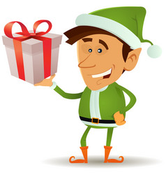 Christmas elf holding gift vector