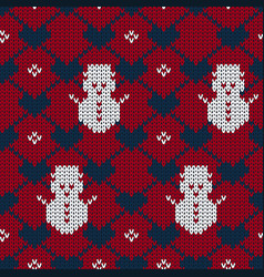 Christmas seamless knitted pattern background vector