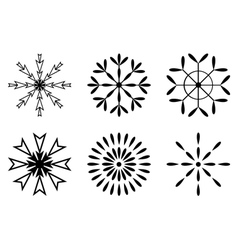Christmas - Set of black snowflakes icon vector