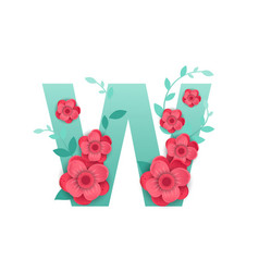 color letter w with beautiful flowers vector image