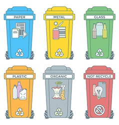 Colored outline separated garbage bins icons vector