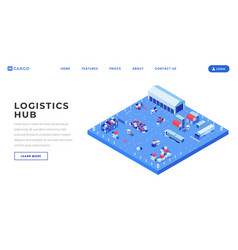 Container yard landing page template vector