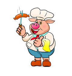 cook prepares delicious barbecue sausages vector image