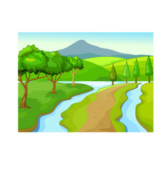 Cool green grass hill with mountain and river vector