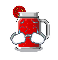 crying tasty tomato juice on cartoon table vector image