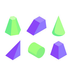 different shape color geometric figures collection vector image