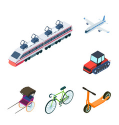Different types of transport cartoon icons in set vector