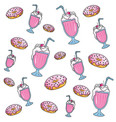 Donuts and milk shake vector