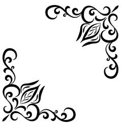 Doodle abstract handdrawn flower corner frame vector