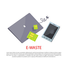 e-waste banner with broken electronic gadgets vector image