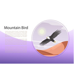 eagle landscape with flying bird over vector image