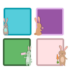 easter rabbit character bunny different cards pose vector image