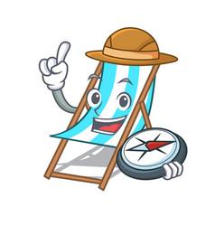 explorer beach chair mascot cartoon vector image