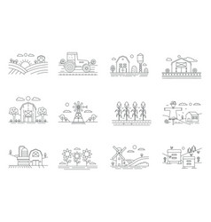 Farm and farming fields thin line icons isolated vector