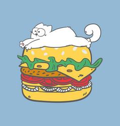 Fat lazy white cat lying on burger vector