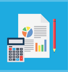 financial analysis planning sheet with pencil vector image