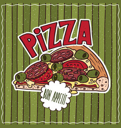 Food poster with pizza vector