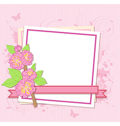 Frame with pink peach flowers vector