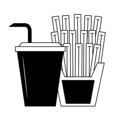french fries and soda in black and white vector image