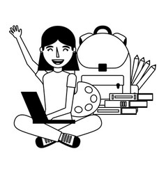 girl with laptop backpack and books education vector image