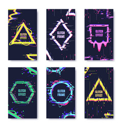 glitch damage cards noise defect distortion frame vector image