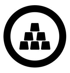 Gold bar icon black color in circle vector