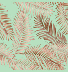 gold summer tropical palm leaves seamless pattern vector image