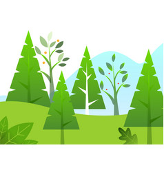 green trees greenery in forest spring season vector image