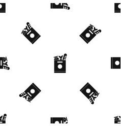 grocery bag with food pattern seamless black vector image